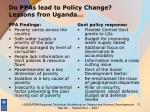 do ppas lead to policy change lessons fron uganda