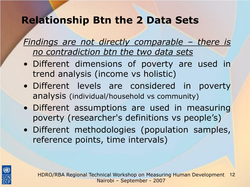 Relationship Btn the 2 Data Sets