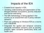 impacts of the iea