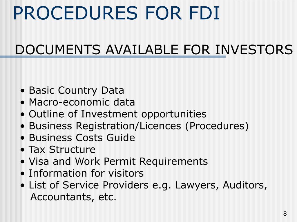 PROCEDURES FOR FDI