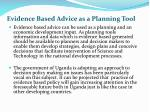 evidence based advice as a planning tool