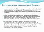government and the running of the state