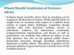 whom should academies of sciences advice