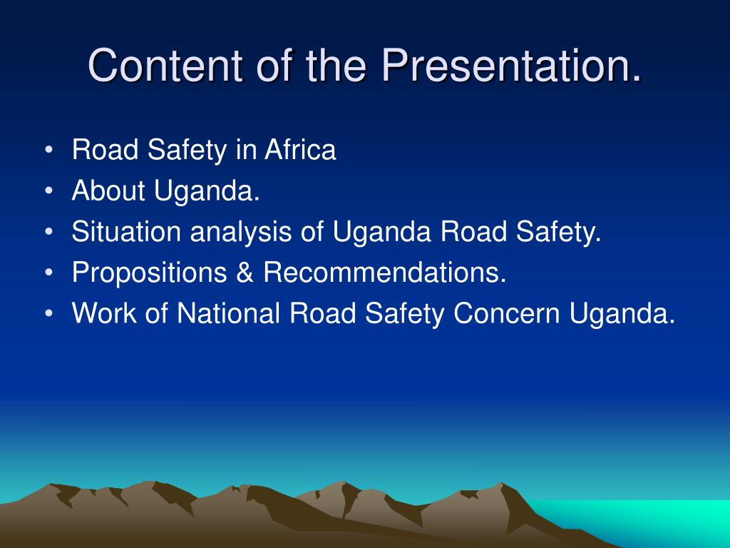 Content of the Presentation.