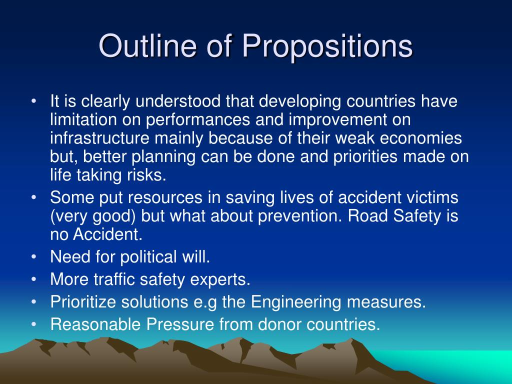 Outline of Propositions