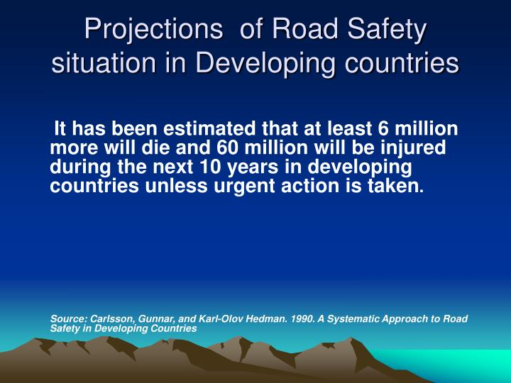 Projections of road safety situation in developing countries