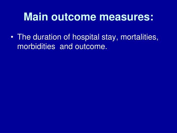 Main outcome measures:
