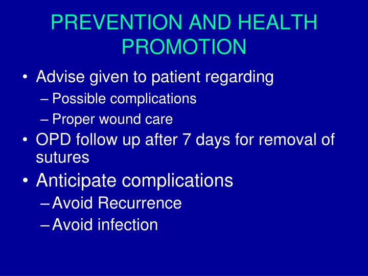 PREVENTION AND HEALTH PROMOTION