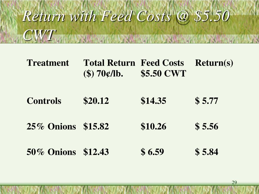 Return with Feed Costs @ $5.50 CWT