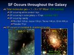 sf occurs throughout the galaxy