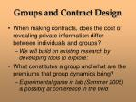 groups and contract design