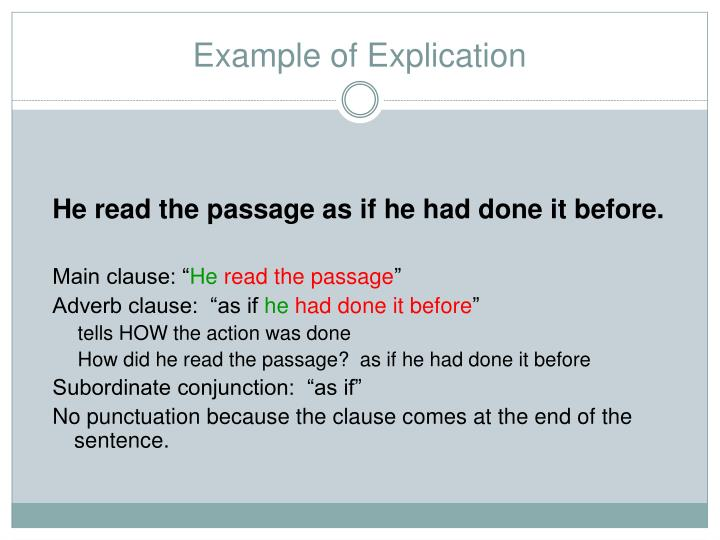 Example of Explication