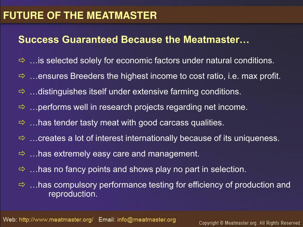 FUTURE OF THE MEATMASTER