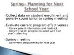 spring planning for next school year