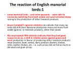 the reaction of english manorial lords 1