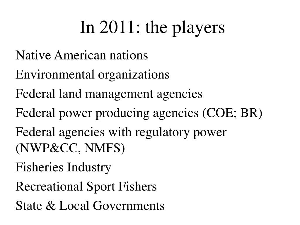 In 2011: the players