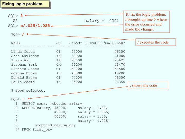 Fixing logic problem