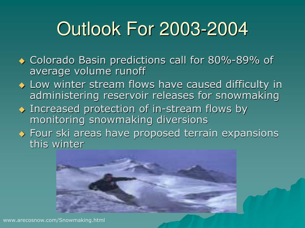 Outlook For 2003-2004