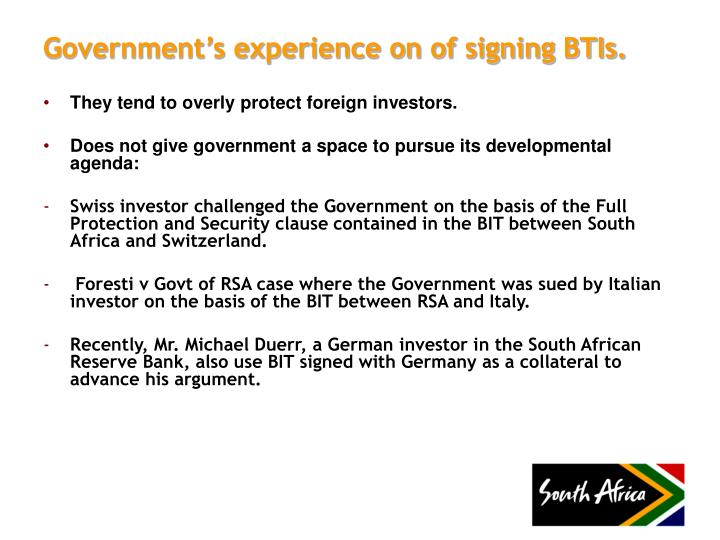 Government's experience on of signing BTIs.