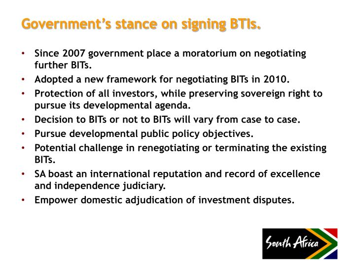 Government's stance on signing BTIs.