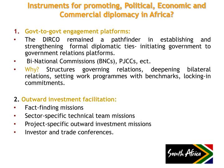 Instruments for promoting, Political, Economic and Commercial diplomacy in Africa?