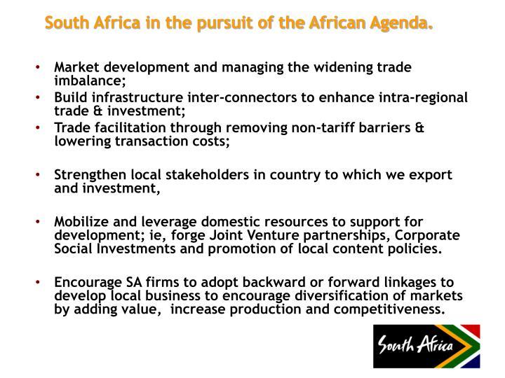 Market development and managing the widening trade imbalance;