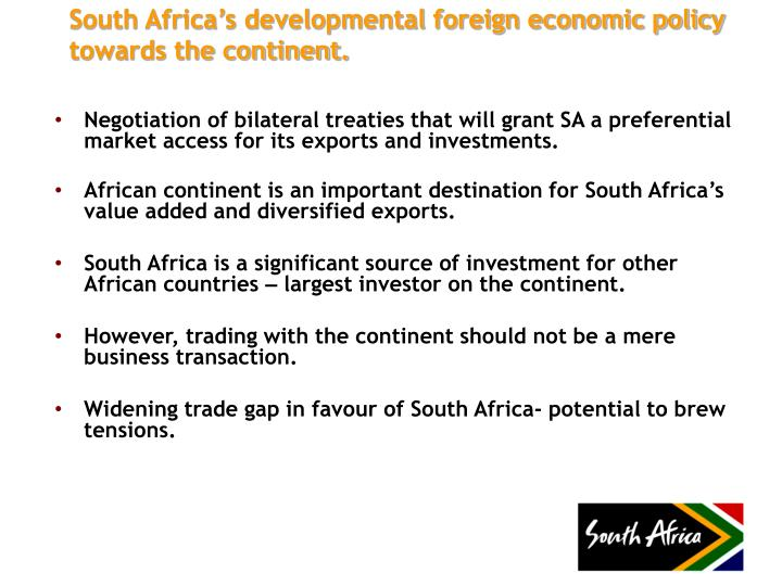 Negotiation of bilateral treaties that will grant SA a