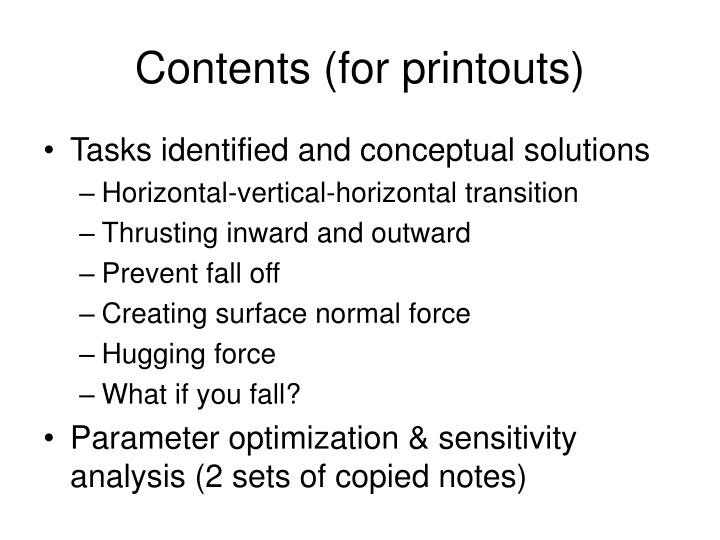 Contents for printouts