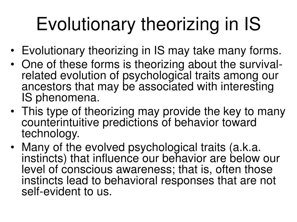 Evolutionary theorizing in IS