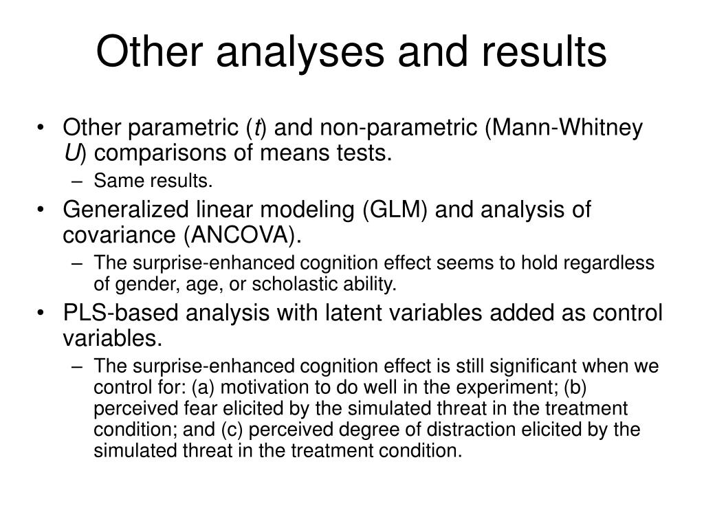 Other analyses and results