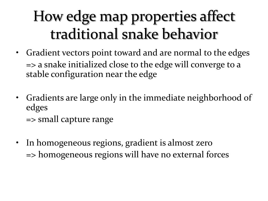 How edge map properties affect traditional snake behavior