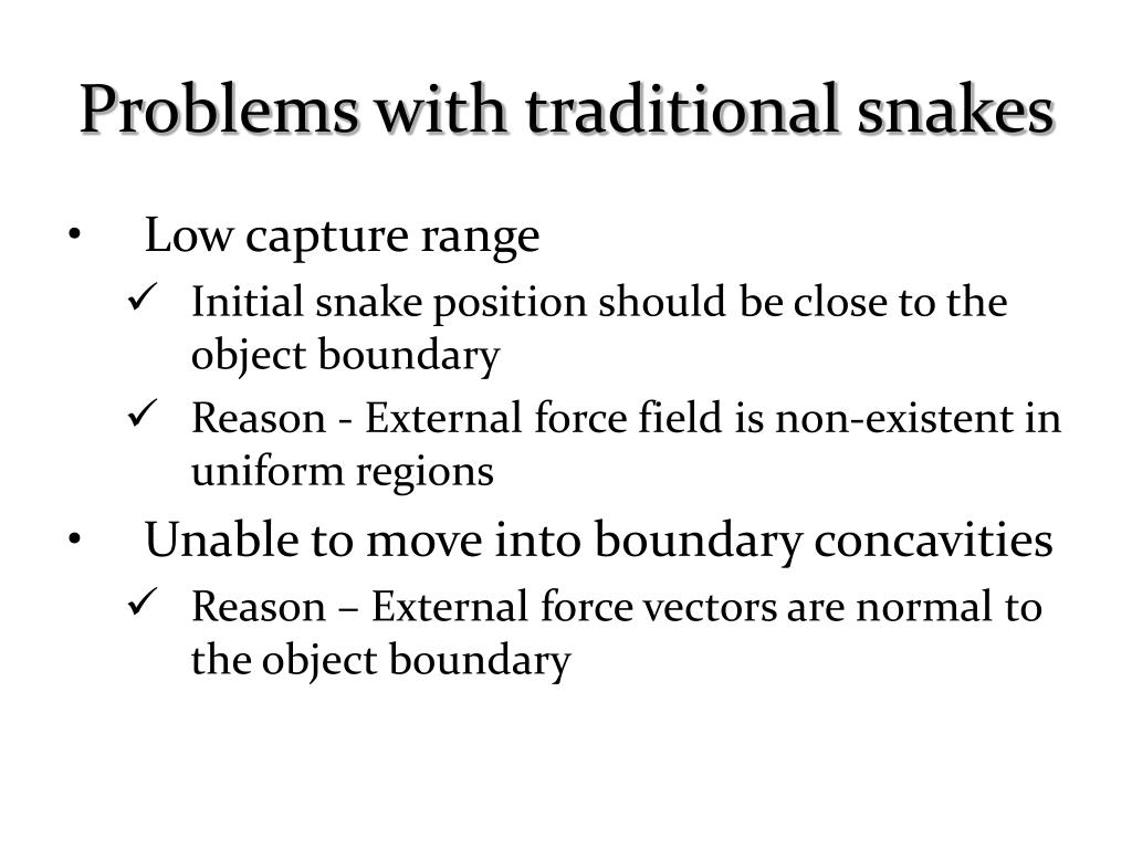 Problems with traditional snakes
