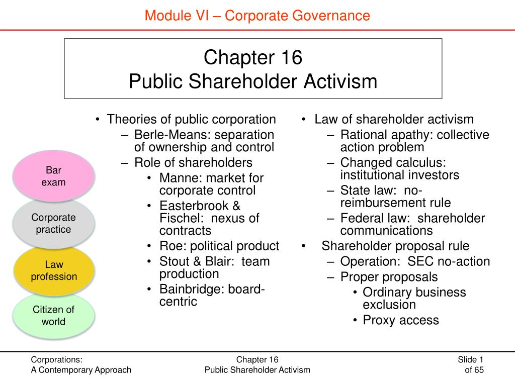 PPT - Chapter 16 Public Shareholder Activism PowerPoint