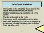 severity of snakebite