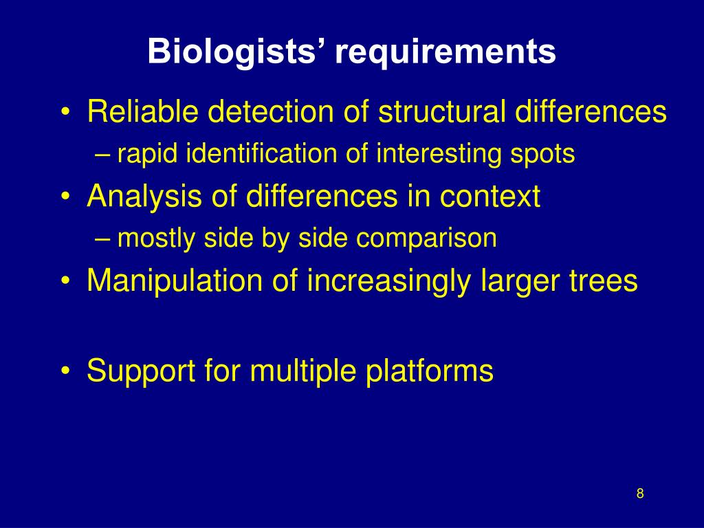 Biologists' requirements