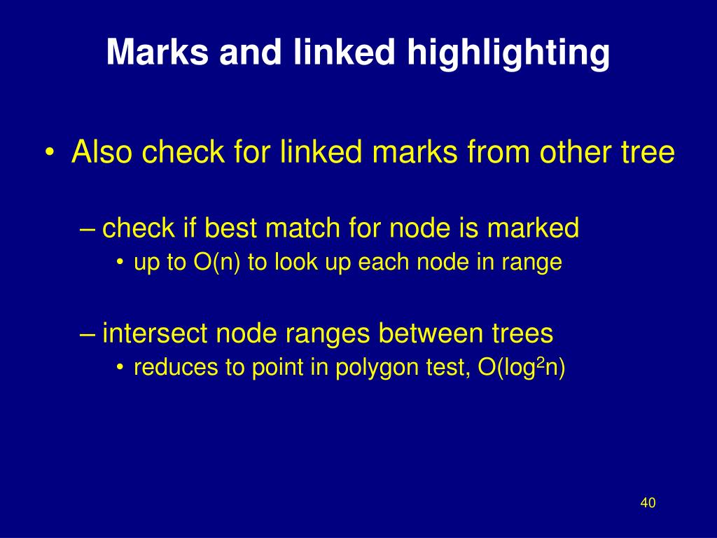 Marks and linked highlighting