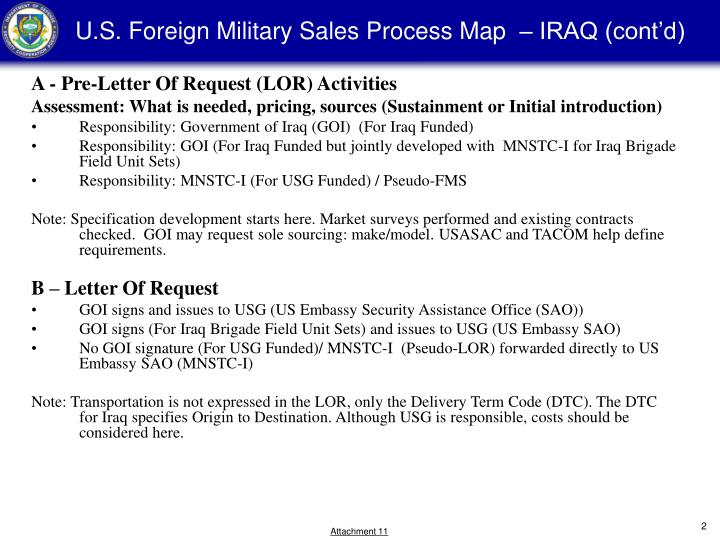 U s foreign military sales process map iraq cont d