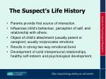 the suspect s life history1