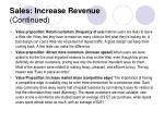 sales increase revenue continued