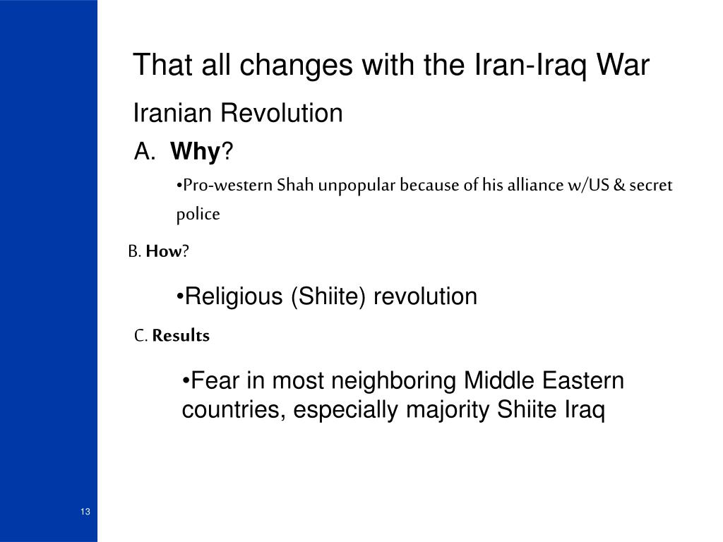 That all changes with the Iran-Iraq War