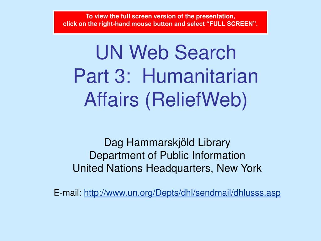 un web search part 3 humanitarian affairs reliefweb l.