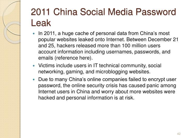2011 China Social Media Password Leak