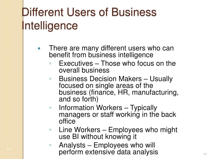 Different Users of Business Intelligence