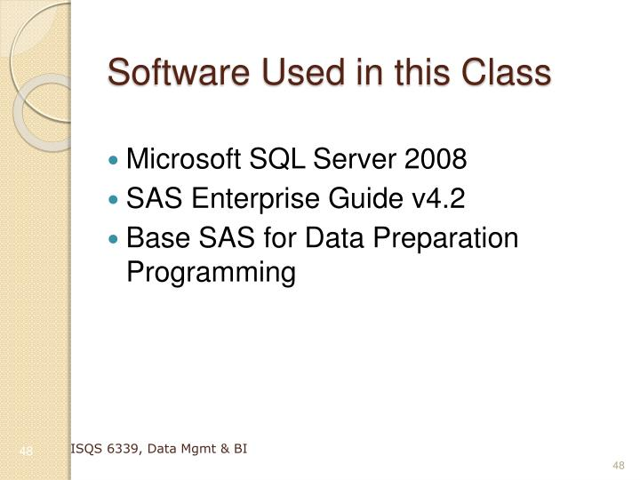 Software Used in this Class