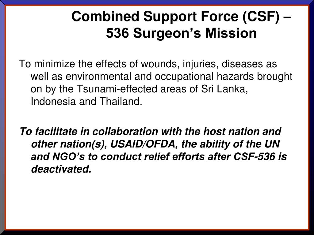 Combined Support Force (CSF) –