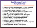 iraq ministry of health early initiatives