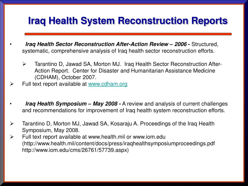 Iraq Health System Reconstruction Reports