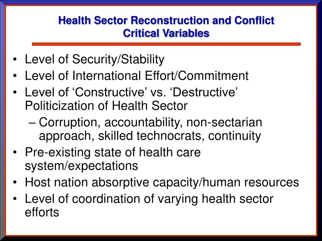 Health Sector Reconstruction and Conflict