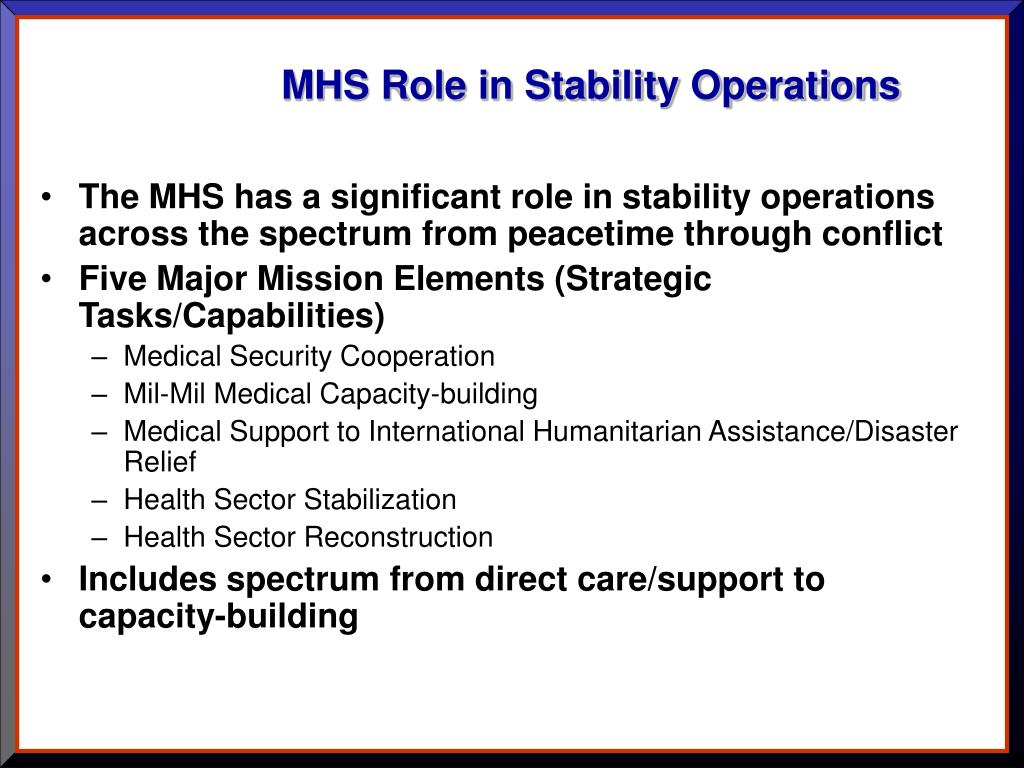 MHS Role in Stability Operations