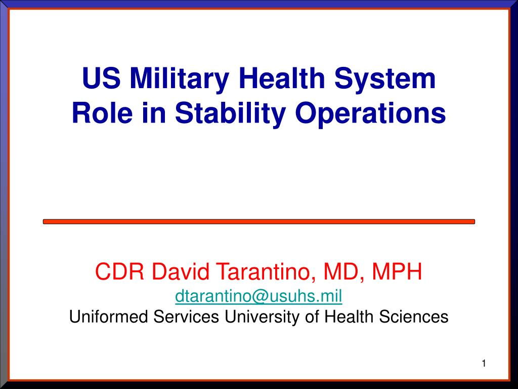 us military health system role in stability operations l.